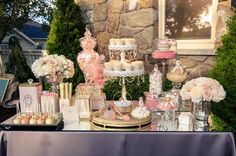 Champagne and coral dessert table #dessert #weddingdessert #coralwedding #dessertbar #desserttable