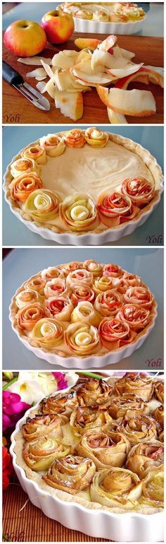 Apple pie with roses. Beautiful and delicious! Apple pie with roses. Beautiful and delicious! Just Desserts, Delicious Desserts, Dessert Recipes, Yummy Food, Tasty, Elegant Desserts, Pie Dessert, Fall Desserts, Recipes Dinner