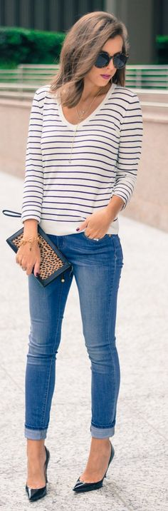 Mix Print Everyday Casual Chic Fall Outfit Idea by For The Love Of Fancy