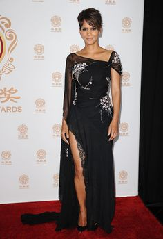 Halle Berry in right-off-the-runway Elie Saab.