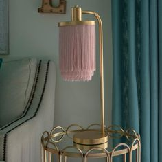Decor Therapy Framboise Gold Table Lamp with Fringe Lamp Shade – The Home Depot - Modern Pink Table, Gold Table, Gold Lamps, Traditional Lamps, Light Bulb Types, Lamp Bases, Inspiration, Modern Lamp Shades, Interior Design