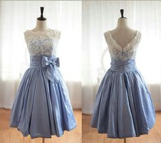 White lace over blue. So pretty!