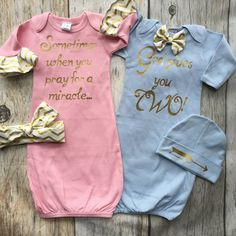 Twin gown set baby girl baby boy gown set gold pink and Baby Cribs For Twins, Twin Baby Clothes, Twin Baby Girls, Boy Girl Twins, Nursery Twins, New Baby Girls, Twin Babies, Baby Baby, Nursery Ideas