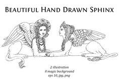Sphinx Mythology, Sphinx Tattoo, Magic Background, Vintage Tattoo Design, Le Sphinx, Expressions Of Sympathy, Lion Illustration, Mythology Tattoos, Arte Horror