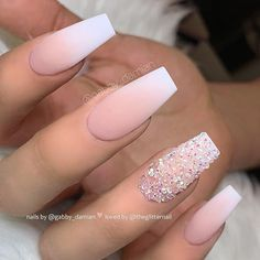 nails french ombre / nails french nails french tip nails french ombre nails french design nails french tip color nails french manicure nails french de colores nails french tip with design Ombre Nail Designs, Acrylic Nail Designs, Fake Nail Designs, Nail Crystal Designs, Diamond Nail Designs, Accent Nail Designs, Diy Ongles, Coffin Nails Ombre, Ombre French Nails