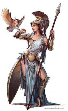 Athena by YamaOrce female god goddess archer hunter huntress warrior soldier fighter gladiator armor Greek And Roman Mythology, Greek Gods And Goddesses, Greek Goddess Mythology, Fantasy Kunst, Fantasy Art, Character Inspiration, Character Art, Writing Inspiration, Ancient Greece