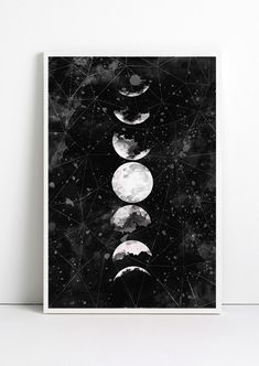 Full Moon Poster Geometric Art Galaxy Sky Space Stars by Fybur