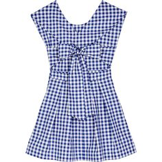 Fête Impériale Amelie Dress (€315) ❤ liked on Polyvore featuring dresses, checkered dress, babydoll dress, summer dresses, baby doll dress and blue cotton dress