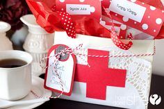 A get well kit with cute gift suggestions. Printable gift box template included.