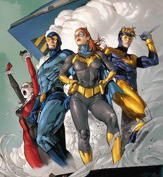 Harley Quinn, Blue Beetle, Batgirl and Booster Gold Marvel Dc Comics, Dc Comics Art, Catwoman, Dc Batgirl, Blue Beetle, Comic Kunst, Dc Comics Characters, Batman Art, Batman Robin