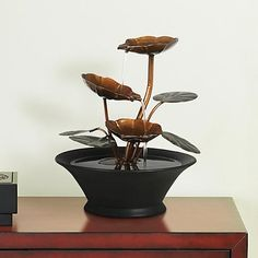 Alvera Metal Flowers And Leaves Indoor Table Fountain Tabletop