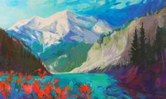 Wild Blue Yonder, acrylic landscape painting by Becky Holuk | Effusion Art Gallery + Cast Glass Studio, Invermere BC River Painting, Peony Painting, Boat Painting, Flower Paintings, Nature Paintings, Landscape Paintings, Lake Art, Cast Glass, Canadian Art