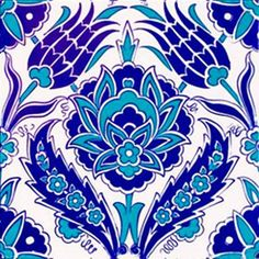 An Ottoman Iznik Style Floral Design Pottery Polychrome, By Adam Asar, No 36 - Round Beach Towel Turkish Tiles, Turkish Art, Portuguese Tiles, Moroccan Tiles, Moroccan Decor, Islamic Tiles, Islamic Art, Tile Patterns, Textures Patterns