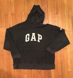 GAP Vintage Dark Grey Pullover Fleece Sweatshirt XL #GAP #Hoodie