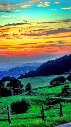 Sunset on the rolling hills of Western, Normandy, France