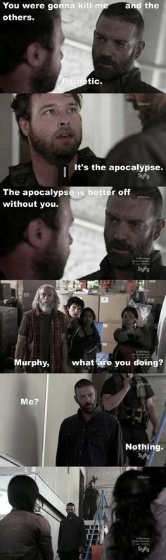 Shouldn't have pissed off Murphy hebwouldnt have made you kill yourself with his awesome powers if you wouldn't have pissed him off lol Movies Showing, Movies And Tv Shows, Keith Allan, Apocalypse Character, Z Nation, Pissed Off, Music Tv, Zombies, Walking Dead