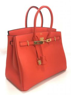 Hermès Orange Poppy Gold Hardware Togo 35 Cm Birkin Bag