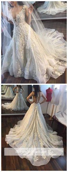 Gorgeous Sleeveless Princess Lace Appliques Wedding Dress #weddingdresses #WeddingGowns