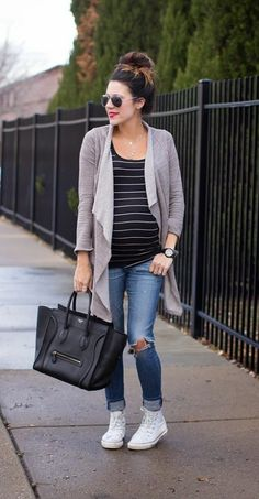 grey flared cardigan