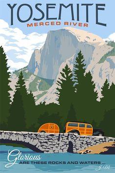 0043 Vintage Travel Poster Art Yosemite
