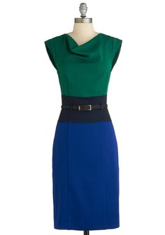 Colorblock Off Your Schedule Dress - Long, Green, Blue, Belted, Work, Colorblocking, Sheath / Shift, Cap Sleeves, Exclusives