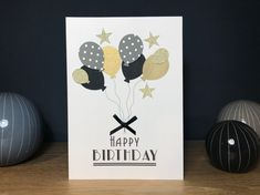 Ok, so it's only the Art Deco typeface! But I think the black's and gold's add to the deco feel of this handmade card Personalized Birthday Cards, Handmade Birthday Cards, Greeting Cards Handmade, Art Deco, Place Card Holders, Unique, Art Decor
