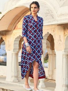 Buy Blue C Cut Style Cotton Kurti at Rs. Get latest Indo Western Suits for womens at Peachmode. Frock Style Kurti, Jacket Style Kurti, Kurti With Jacket, Kaftan Style, Cold Shoulder Kurti, Floor Length Kurti, A Line Kurti, Stylish Kurtis, Latest Kurti