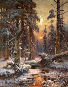 File: Winter Sunset in spruce forest - Julius von Klever . Russian Landscape, Fantasy Landscape, Winter Landscape, Landscape Art, Landscape Paintings, Winter Painting, Winter Art, Winter Scenery, Winter Sunset