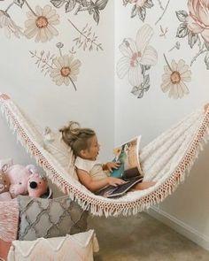 Big Girl Bedrooms, Little Girl Rooms, Girls Bedroom, Hammock In Bedroom, Kids Hammock, Hammock Ideas, Girls Room Design, Girl Bedroom Designs, Bedroom Ideas