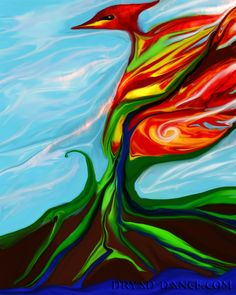 Phoenix Elemental by Edwina Peterson Cross - The Phoenix renews his fire in the other elements. Chakra System, Magical Creatures, The Gathering, Phoenix, Mystic, Fire, Board, Room, Painting