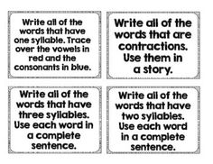 Word Wall Task Cards by Sharp in Second Word Work Centers, Syllable, Three Words, Task Cards, Writing, Wall, Walls, Being A Writer, Warehouse