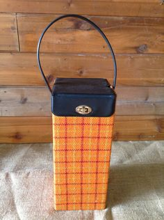 No. 1  Vintage 1950's Vintage Mid Century Upholstered Bright Orange Plaid Wine Box with Vinyl Lid and Handle by ReEmporium on Etsy