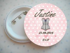 "Grand badge 56 mm collection ""le corset EVJF"" rose, blanc, pois, mariage PERSONNALISABLE : Pins, badges par miss-coopecoll"