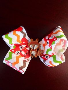 Chevron Fox Twisted Boutique Bow  on Etsy, $8.00