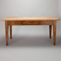 19th Century French Pine and Ash Table with Center Drawer image 2