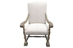 Vintage Chair w/ Antique Natural French Linen