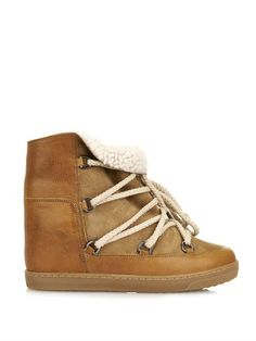 Isabel Marant Nowles leather wedge snow boots