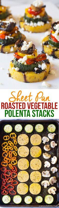 Sheet Pan Roasted Vegetable Polenta Stacks - A simple elegant one-pan appetizer (or main dish) that is gluten free and vegetarian! via @spicyperspectiv Vleesvoorgerechten, Voorgerechtrecepten, Zalmvoorgerecht, Vegetarische Recepten, Recepten, Vegetarische Diëten, Polenta Recepten, Handwerk, Bon Appetit