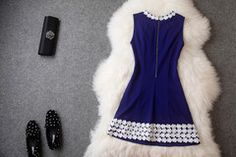 Embroidered Dress In Navy Blue – Lily & Co.