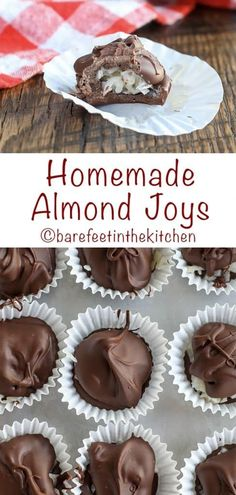 Homemade Almond Joys are super easy to make and they're fun to eat too! get the … Homemade Almond Joys Köstliche Desserts, Delicious Desserts, Dessert Recipes, Health Desserts, Holiday Baking, Christmas Baking, Homemade Christmas Candy, Easy Christmas Candy Recipes, Christmas Crack
