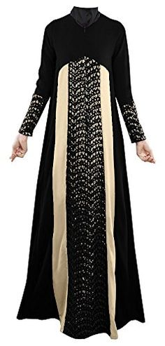 PlaidPlain Womens Long Sleeve Muslim Islamic Abayas Lace Aline Maxi Dress Black 24 *** You can find out more details at the link of the image.