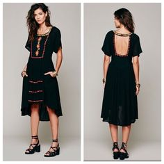 Free People Embroidered Folk Dress Free People folk dress in black with gorgeous, intricate embroidery in beautiful and bright colors. This is a midi dress. Soft gauze like material, hilow. Gently worn a couple times by me. Good condition. Size L. Price fixed Free People Dresses