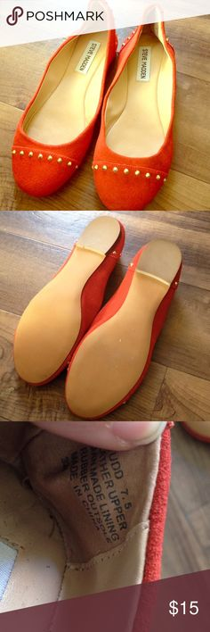 Steve Madden Burnt Orange Studded Flats!! LK NEW! Beautiful and worn once!!! Very chic. Heels are a bit scrunched from storage, but doesn't affect look and can be reshaped!! Steve Madden Shoes Flats & Loafers