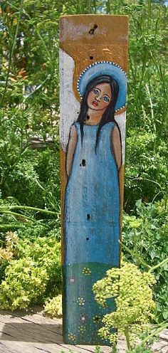 FOLK ART GARDEN ANGEL PAINTING