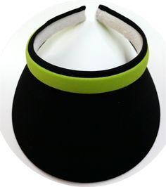 Clip On Black Round Brim w/Lime Band