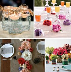 These ideas are extremely simple but can be so beautiful when executed properly! Whoever thought of the upside down wine glass/water goblet idea (top right) is a genius… this is a look that would be extremely easy and inexpensive to achieve! Floating candles in mason jars are another fabulous idea, and you can dress up the jars with twine/raffia/ribbon/lace/etc to really make them stand out.