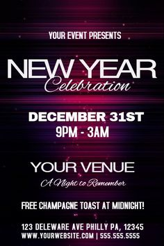 New YearS Party Poster Template Click To Customize  New Year