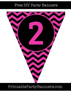 Hot Pink And Black Pennant Chevron Capital Letter Q