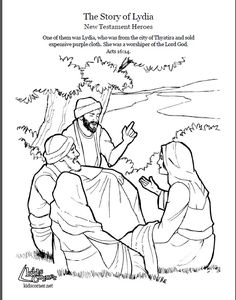 The Story of Lydia. Coloring page, script and audio story. http://kidscorner.reframemedia.com/bible/stories/the-story-of-lydia/