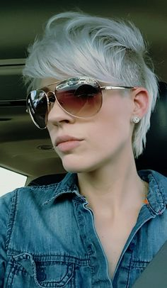 Undercut mohawk pixie cut...platinum blonde!